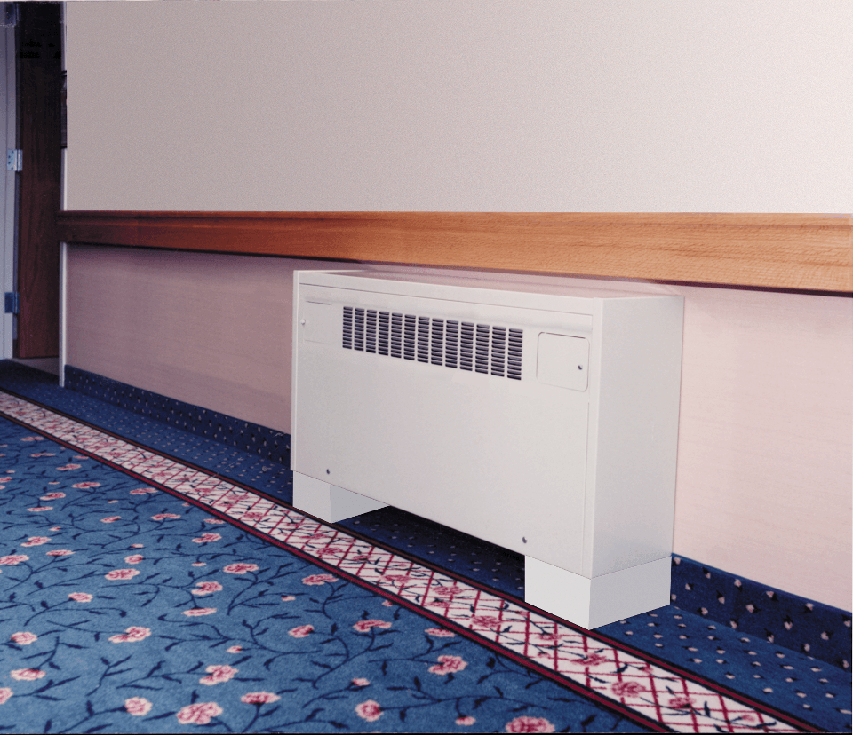 Black cabinet unit heater installed in the lobby of an academic building