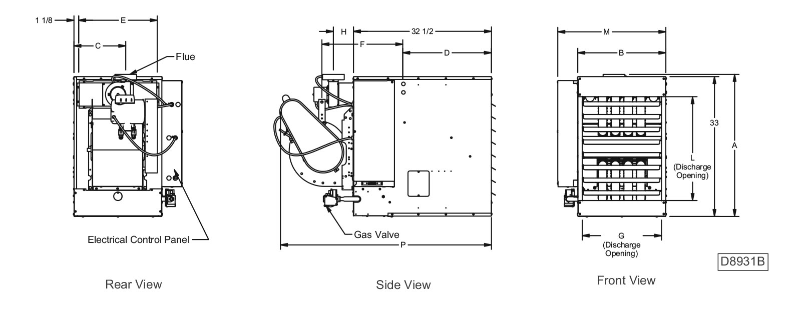 BTC Series Tubular Blower Unit Heater Performance and Dimensional Data Drawings